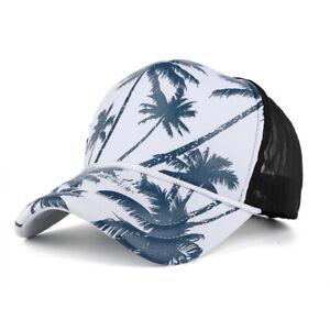 Tree-Palm-Beach-Adjustable-Snapback-Summer-Unisex-Coconut-Mesh-Hat-Baseball-Cap