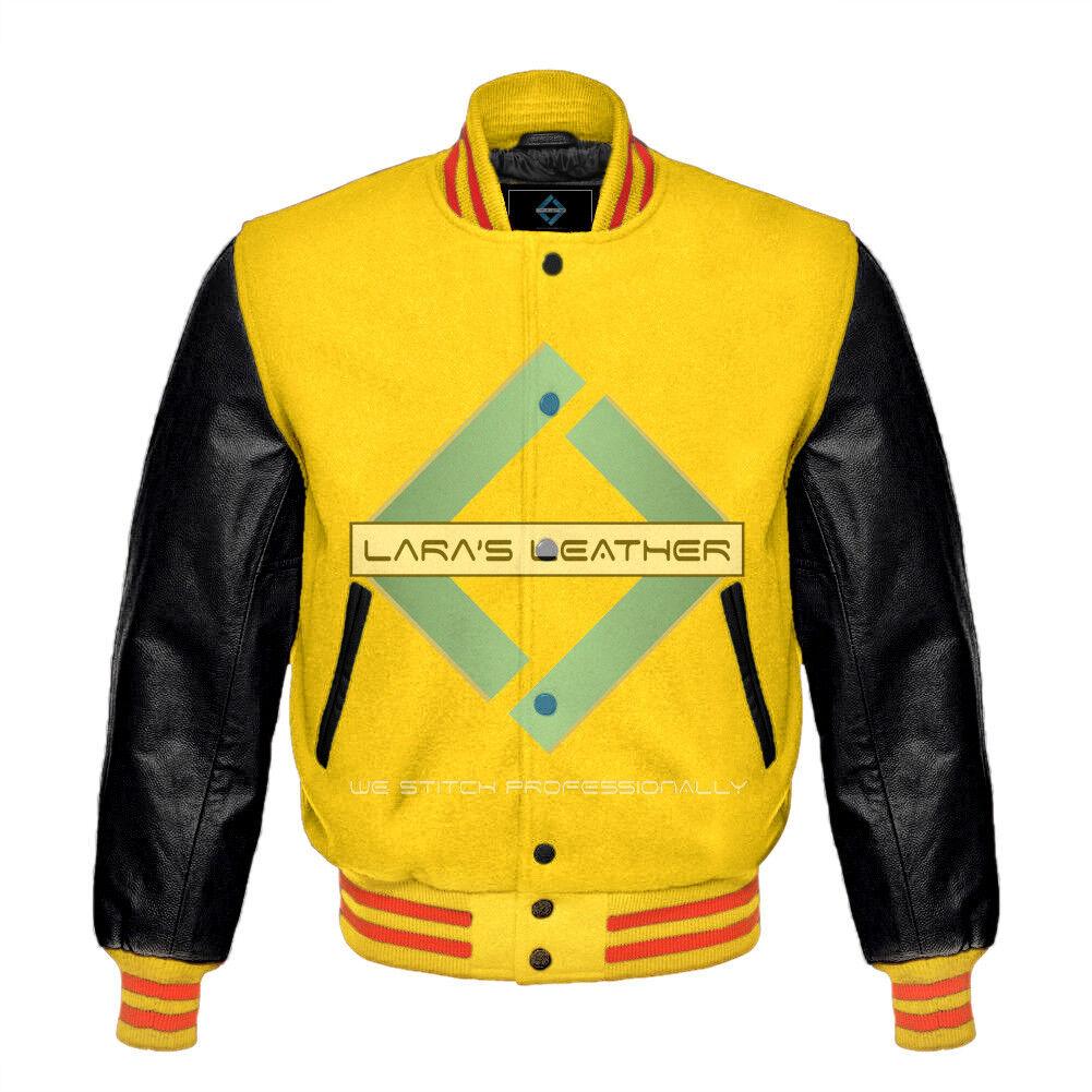 Top Baseball Letterman Varsity Gelb wollejacke-Genuine leder Sleeve XS-4XL