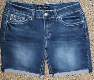 Womens-Sz-6-Stretchy-rolled-cuff-Shorts-Love-Indigo-Jean-Denim-flap-pockets-28W