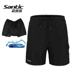 SANTIC Baggy Cycling Shorts Casual Bike Sports Short Pants with Padded Black
