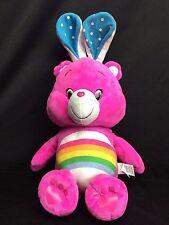 "Care Bears Cheer Bear Easter Bunny Rainbow Plush Toy 18"" Pink"