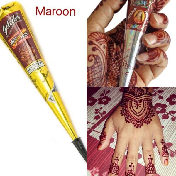 6 X Indian Imported Golecha Red Maroon Henna Cone Pen Mehandi Paste