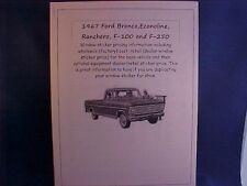 1967 Ford van/truck/Bronco factory cost/dealer window sticker pricing + options