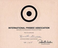 Vintage International Frisbee Association Membership Club Certificate