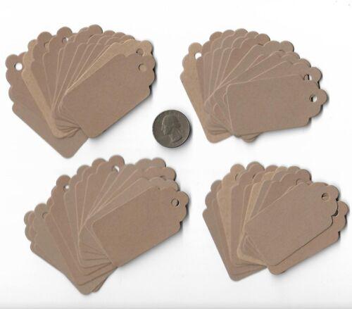 Set of 50 Scrapbooking Kraft Brown Scallop Top Card Stock Die Cut Hang Tags