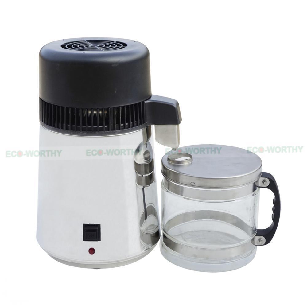New Water Distiller 4 l en acier inoxydable PUR Purificateur d'eau filtre avec bocal en verre
