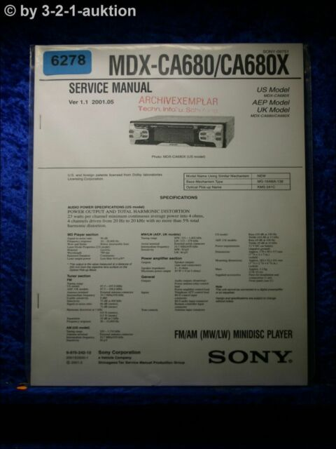Sony Service Manual Mdx Ca680  Ca680x Mini Disc Player