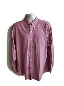 Brooks Brothers 346 Red Striped Mens Button Down Long Sleeve Size 16.5 34/35