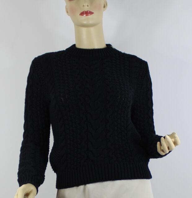 Ralph Lauren Womens Sweater Xs Black Cable Knit Zipper Shoulder