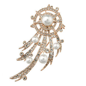 18K-LARGE-ROSE-GOLD-PLATED-AND-GENUINE-AUSTRIAN-CRYSTAL-amp-PEARL-BROOCH
