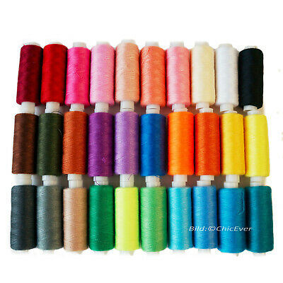 24 Nähgarne Set 450m Nähfaden Garn Faden Polyester Nähmaschinen mehrfarbig bunt