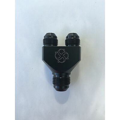 Z120N -6AN Y Block Fuel Y Fitting Junction Coupler 6/6/6 Parallel Exits BLACK