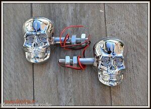 X2-paire-de-Clignotants-Visage-Skull-Chrome-Softail-Fatboy-breakout-VN