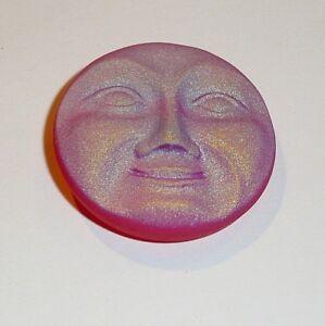 CZECH GLASS BUTTON: 31mm Handpainted Czech Glass Large Moon Face Button Pendant Cabochon 1