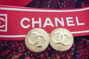 TWO-100-Chanel-buttons-2-pieces-metal-cc-logo-1-inch-25-mm-gold