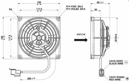 Lüfter 128mm VA69A-A101-87A 12V Original Spal 12V 128mm 400m³ saugend