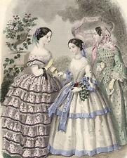 Demoiselles au Jardin Fleurs Anais Toudouze Gravure de mode XIXème