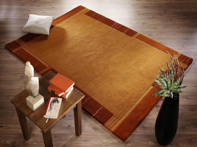 Nepal alfombra indo-nepal colección sv002 424 Terra naranja 200x250 cm