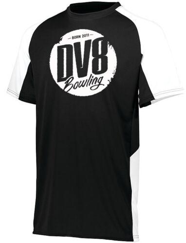 DV8 Men/'s Creed Performance Crew Neck Bowling Shirt Dri-Fit Black White