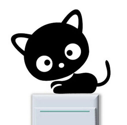 FD839 Head Big Cat Kitten Light Switch Funny Wall Decal Vinyl Stickers DIY 1pc~#