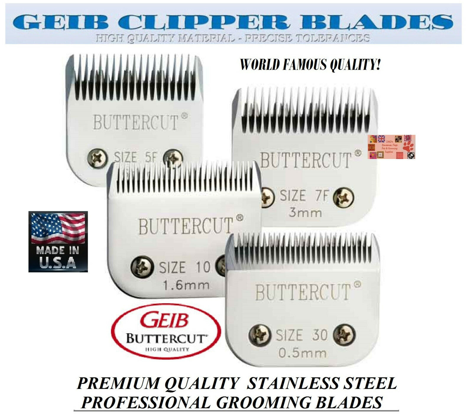 GEIB BUTTERCUT STAINLESS STEEL 4 pc BLADE SETFit Oster A5 A6,Most Andis Clipper