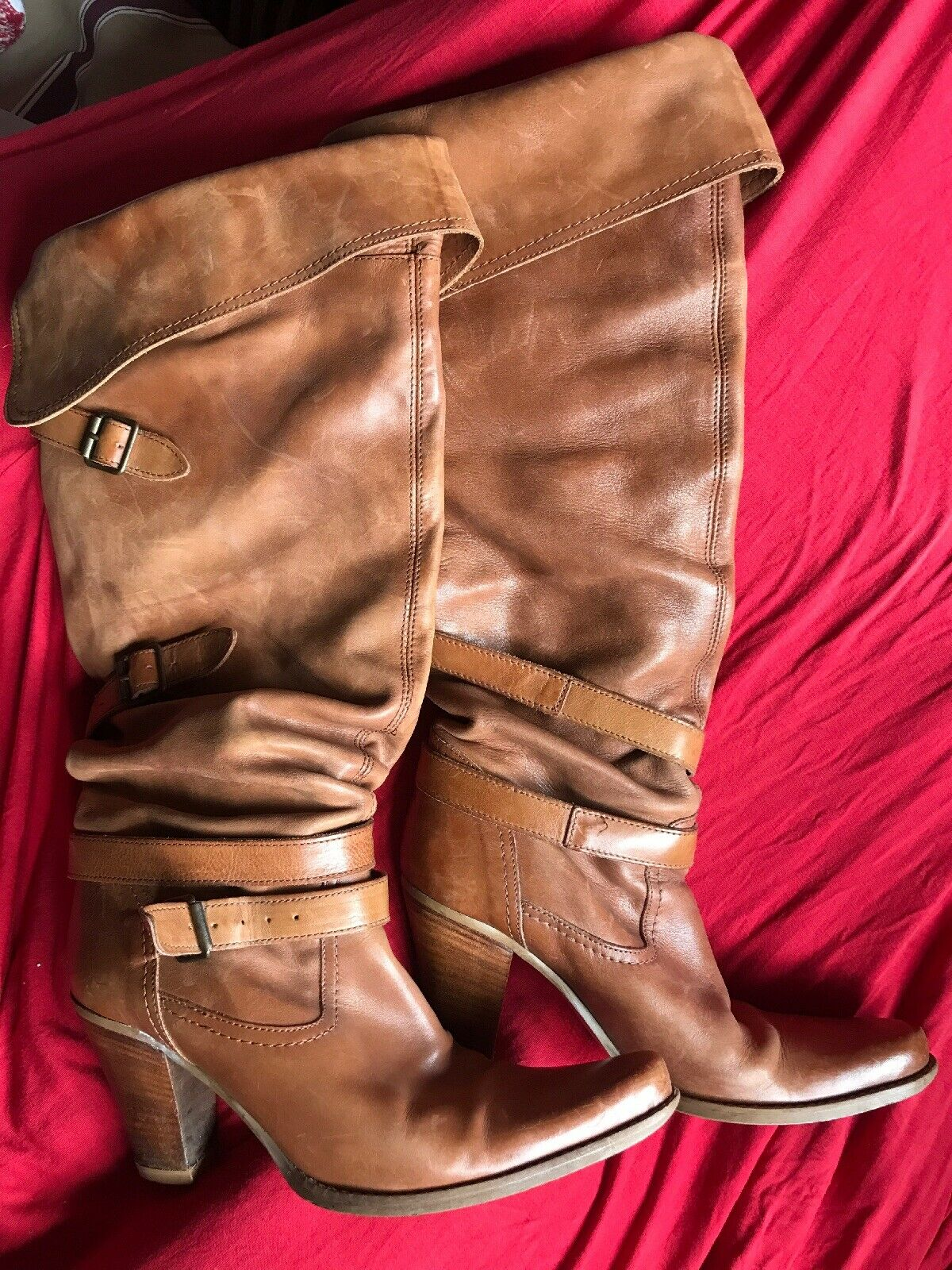 RIVER ISLAND BROWN LEATHER COWBOY COWGIRL BOOTS Size 4   37