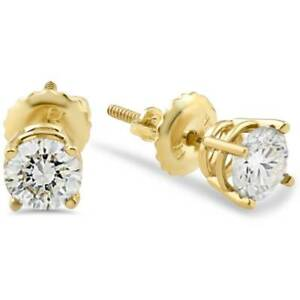 1-2ct-Diamond-Stud-Earrings-Solid-14K-Yellow-Gold-Screw-Back