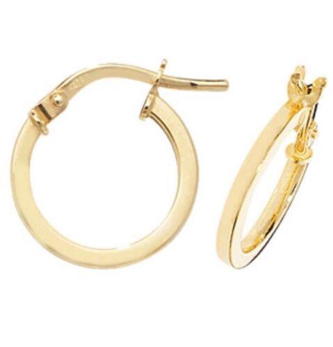 9ct Gold Sleeper Hoop Ladies Earrings 10MM 0.6gr **FREE UK SHIPPING** ER1007//10