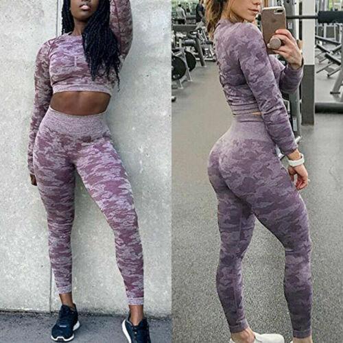 Women Workout Sets 2 PCS Suits High Waisted Yoga Leggings Camo Sports Bra Top