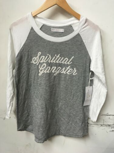 SPIRITUAL GANGSTER T-Shirt  VARSITY  3//4 sleeve  raglan gray SZ S