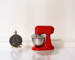 Dollhouse Miniature Kitchen Appliance Stand Mixer with Bowl Red G7771