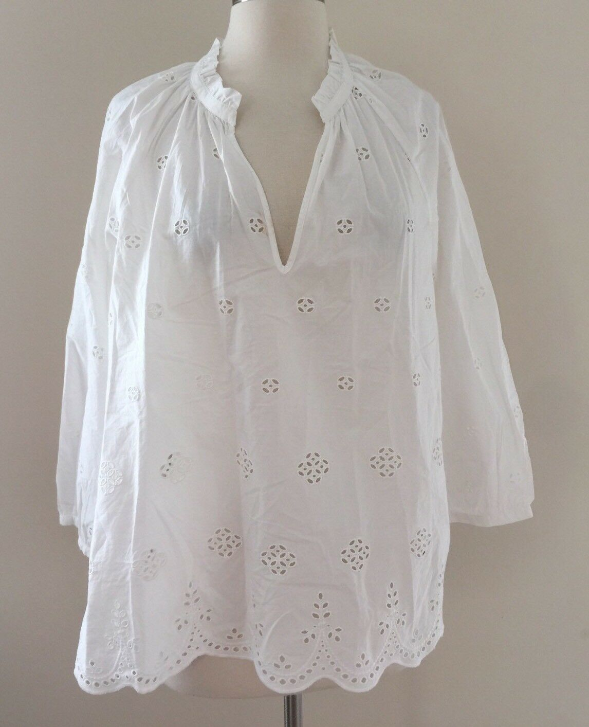 New Madewell Top Weiß Eyelet Popover Blouse Sz M Scalloped G1542  SPRING '17
