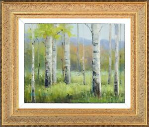 Framed Oil Painting, Landscape with Birch Tree, Signed by Zina, Texture Drawing