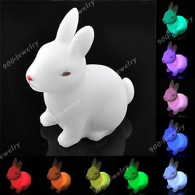 Color Changing Rabbit LED Light Lamp Candle Night Party Home Decoration Gift Toy