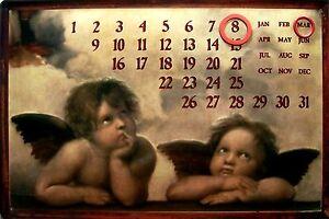 Angel-Angels-Calendario-Letrero-de-Metal-Calendar-Metal-Tin-Sign-20-X-30Cm