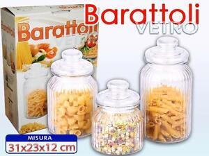 Set 3 Tris Barattoli Con Coperchio Vetro Cucina Contenitori Pasta ...