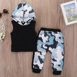 716939e93 UK Toddler Baby Boy Hoodied Camouflage Tracksuit Outfits Suit Summer ...