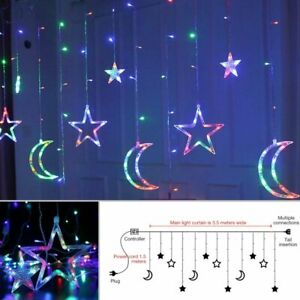 Colorful-Star-Moon-Fairy-Lights-LED-Curtain-String-Light-Christmas-Wedding-Party
