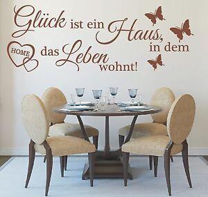Wandtattoo-Spruch-Glueck-ist-ein-Haus-Leben-Wandsticker-Wandaufkleber-Sticker