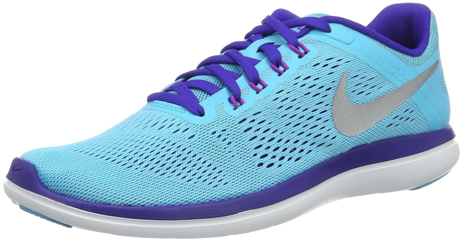 NIKE Women's Flex 2016 Rn Running shoes Gamma bluee Metallic Silver Concord sz 9