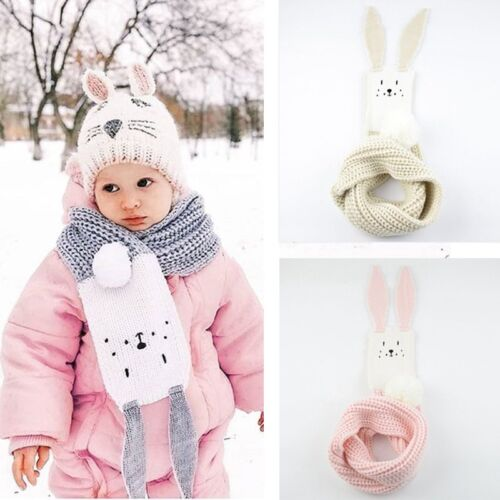 Rabbit Ear Baby Winter Scarf Cartoon Knitted Kids Pompom Boy Girl Neck Warm Gift