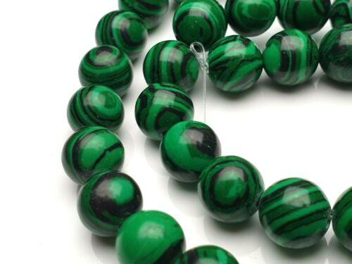 Cuentas de Malaquita sintéticas bola 10 mm filamento verde 38 cm piedra preciosa