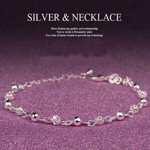 Women-925-Sterling-Silver-Ball-Crystal-Chain-Bangle-Cuff-Charm-Bracelet-Jewelry