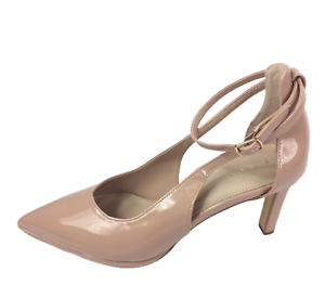 Womens Ladies Pier One Nude Patent High Heel Party Court Shoes Size UK 8 New