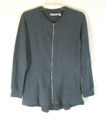 Denim /& Co French Terry Zip Front Hi-Low Hem Knit Jacket Black XL NEW A299111