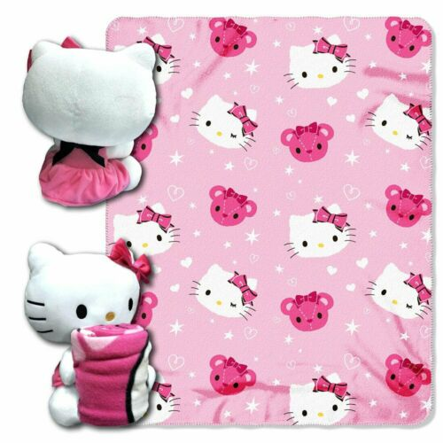 Hello Kitty pillow Stuffed doll and fleece blanket hugger throw Pink White NEW
