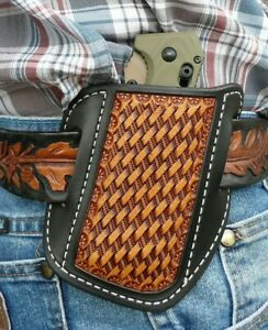 XX Large Leather Cross Draw Pocket Knife Sheath Ruff's Basket Weave Black & Tan