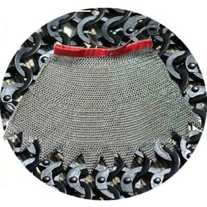 Mild-Steel-Flat-Riveted-With-Washer-Medieval-Knight-Chain-mail-Skirt-9-mm-Black