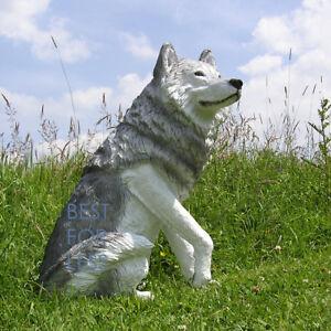 Grauer-Wolf-fuer-Indianer-Deko-Dekoration-Figur-Western-Statue-Skulptur-Werbung