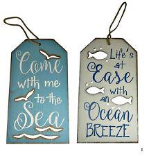 Beach Themed Wall Plaque Signs Coastal Design Grouping Nautical Wood Ocean Sea